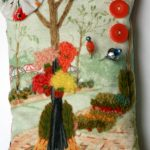 Pincushion Hand Embroidery Sidewalk Scene