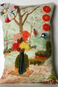 Pincushion Hand Embroidery Sidewalk Scene